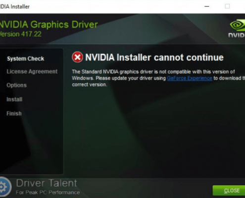 مشکل NVIDIA installer cannot continue