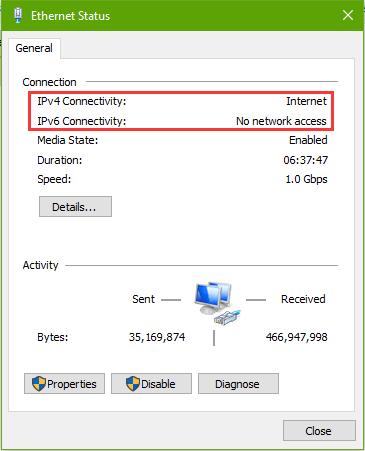 مشکل دسترسی نداشتن به اینترنت IPV4 یا IPv6