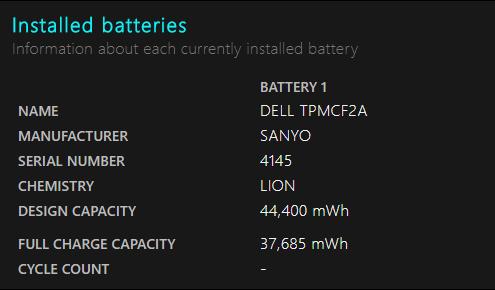 باتریهای نصب شده